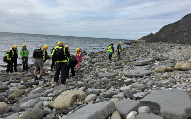 Searching for fossils in the Blue Lias Formation.