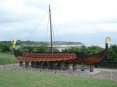 viking ship with section in background