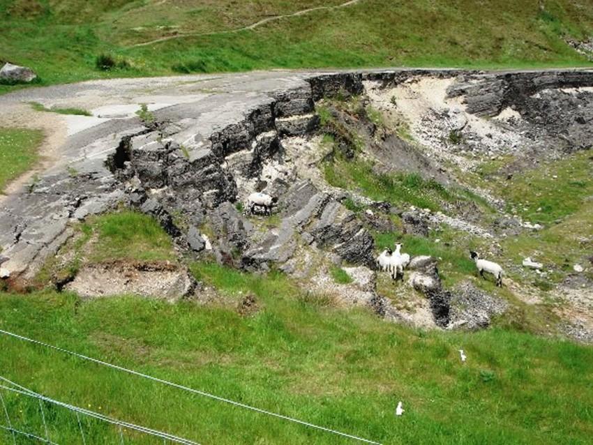 Road destroyed by Mam Tor land slip