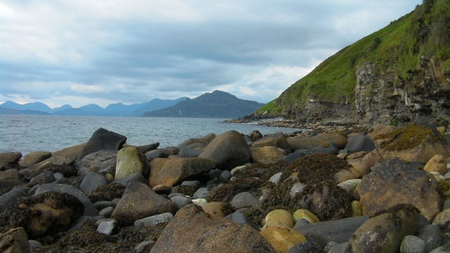 The fossils thin out from here to Portree